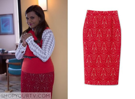 The Mindy Project: Season 3 Epsiode 11 Mindy's Red Lace Printed Skirt