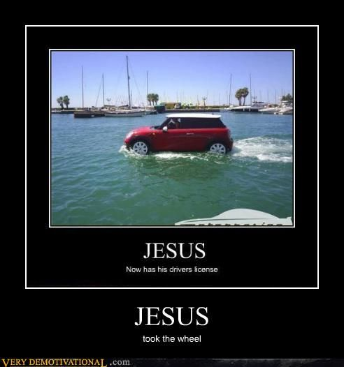 Jesus now has his driver's license - by grlzzlyhlcks at www.cheezburger.com #Funny #Jesus