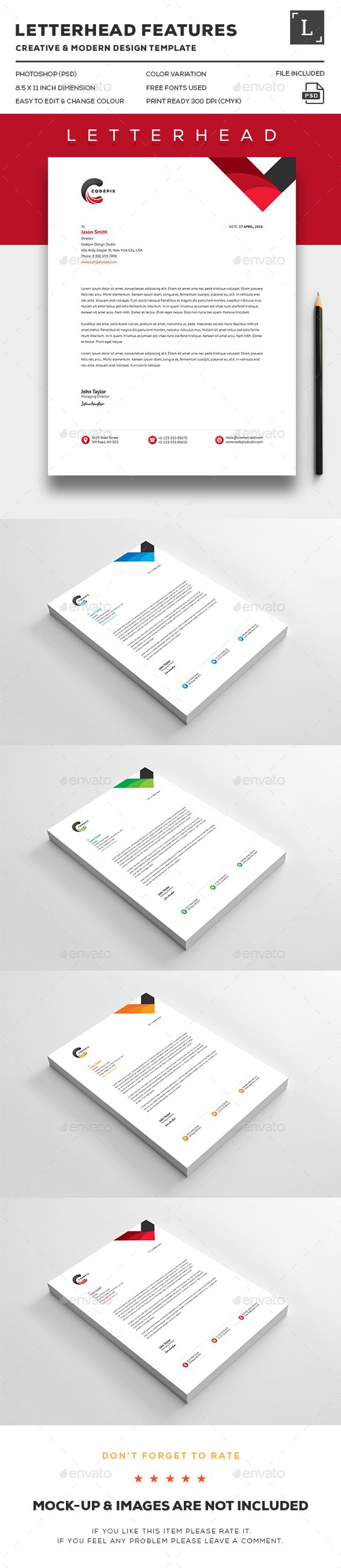 Letterhead Design Template - Stationery Print Template PSD. Download here: http://graphicriver.net/item/letterhead/16386979?ref=yinkira