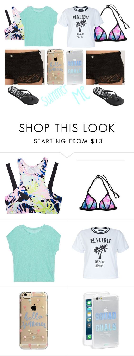 """""""Summer and I"""" by baileejade ❤ liked on Polyvore featuring Victoria's Secret, Majestic Filatures, New Look, Agent 18, Sonix and Havaianas"""