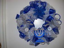 CHANUKAH (HANUKKAH)BLUE SILVER MENORAH DECO MESH DOOR WALL WREATH