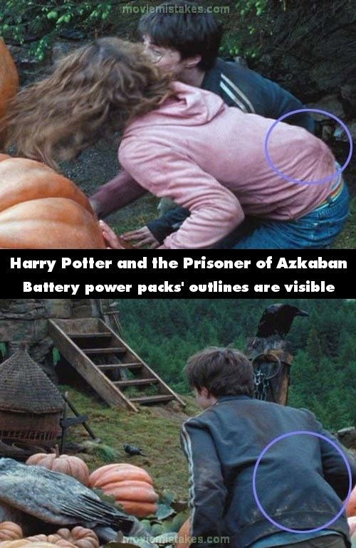 Noticeable Mistakes In The Harry Potter Movies. Those are battery pacs to mics and I always see them in movies! And sometimes even the wires to the actual mic going up their shirt! So annoying!