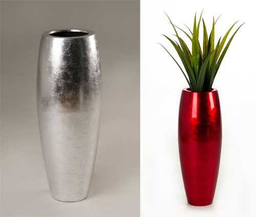 pflanzkuebel-magnum-fiberglas-rot-silber | Exklusive Pflanzgefäße ...