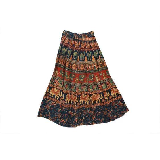 Odishabazaar Indian Elasticated Skirt Printed Cotton Sarang Long... (1,350 INR) via Polyvore featuring skirts, cotton skirt, indian skirts, long white skirt, long cotton skirts and indian long skirts