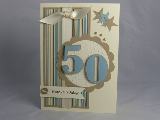 Included is one handmade happy 50th birthday card. This card has lots of textures and dimensions - ribbon, buttons, and pearls adorn the card.