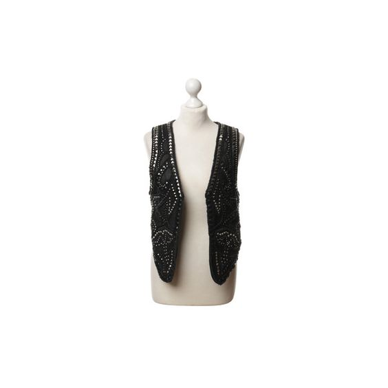 Pre-owned Vest with rivets (2 905 ZAR) ❤ liked on Polyvore featuring outerwear, vests, black, studded vest, genuine leather vest, polka dot vest, vest waistcoat and leather waistcoat
