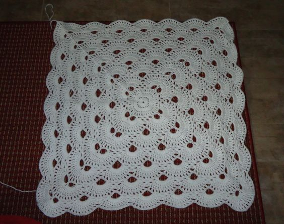 WIP The virus shawl turned into a baby blanket. Free pattern http...