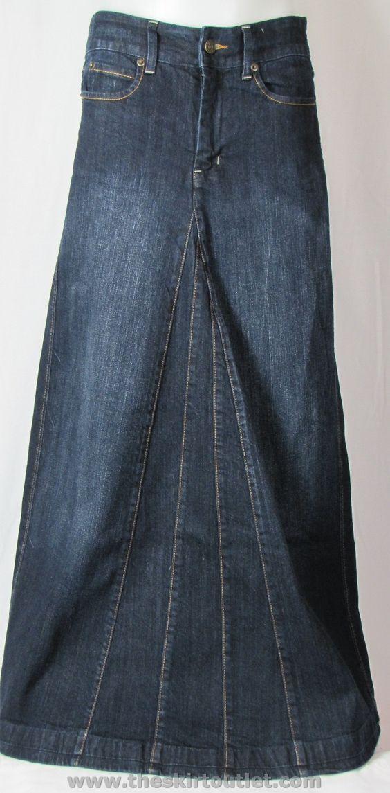 classic modest blue denim jean skirt ankle floor
