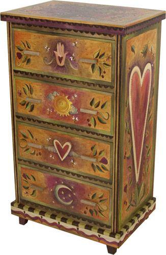 Folk Art Furniture And Paint A Dresser On Pinterest