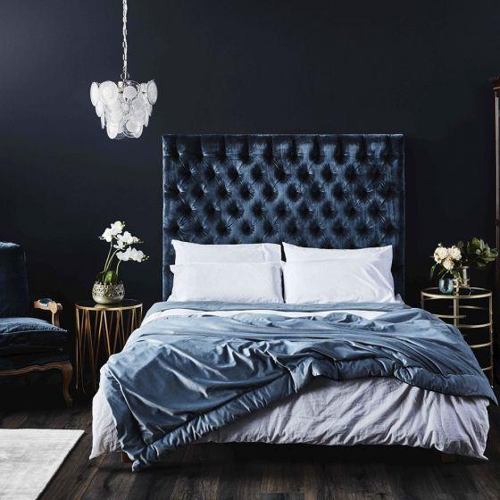 Louie Queen Bedhead Midnight Blue Velvet Bedheads Bedroom