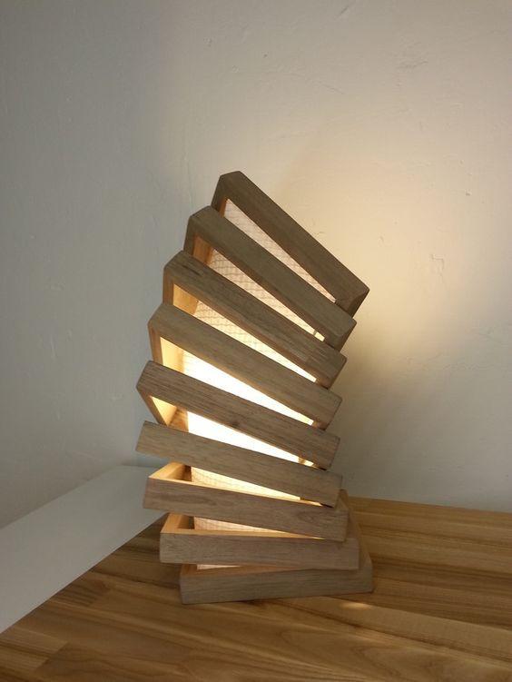 -handgefertigte Tischlampe aus Eichenholz -inkl. Leuchtmittel -Maße: H/B/T: 35/17/17cm -verschiedene Hölzer und Maße wählbar