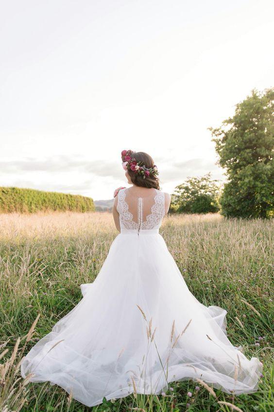 Lace Back wedding dress Flower crown Bride