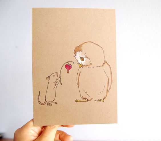 hand painted valentines day card set owl mouse i love you wedding invitation