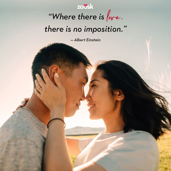 "Love quotes for her: ""Where there is love, there is no imposition."" - Albert Einstein #truelove #free ##loveisfree #lovegoals #lovequotes #alberteinstein"