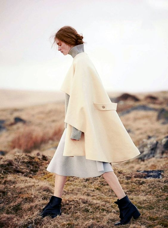 sweater, skirt, and coat by Céline: