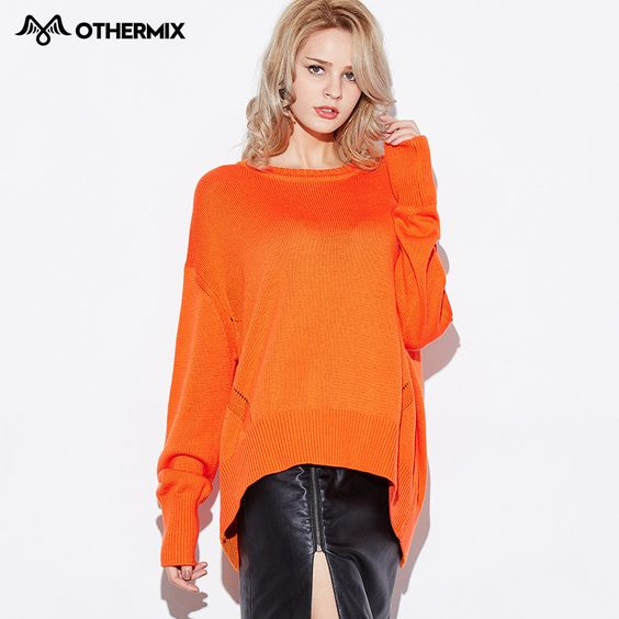OTHERMIX new small slit hem solid color loose sweater sleeve head woman