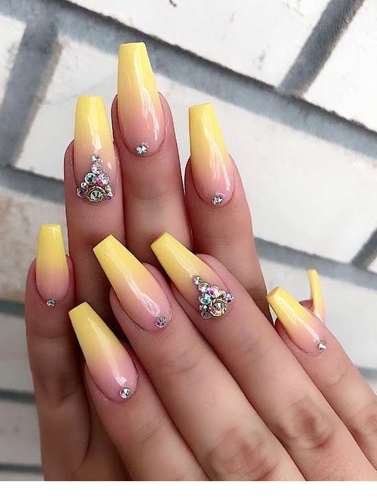 Follow Irieshoecloset Nails Naildesigns Coffin Coffinnails Stilettonails Stiletto Na Ombre Nails Glitter Yellow Nails Design Summer Acrylic Nails