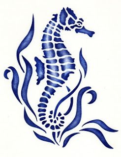 Recycle re use redesign free seahorse stencil for Recycle stencil printable