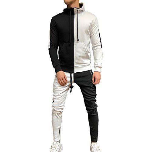 Mens Tracksuit Set Camouflage Sweatshirt Jogger Sweatpants Solid Patchwork Warm Sports Suit
