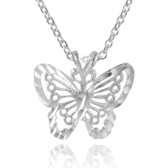 Journee Collection Sterling Silver Butterfly Necklace (110 VEF) ❤ liked on Polyvore featuring jewelry, necklaces, silver, sterling silver butterfly necklace, pendants & necklaces, long pendant necklace, cable chain necklace and sterling silver butterfly pendant