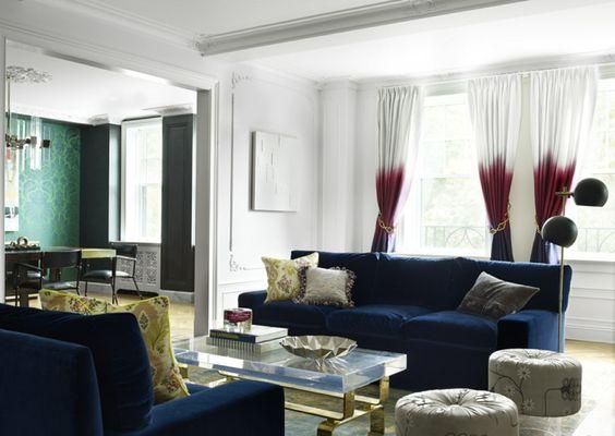 rideaux salon tendance effet ombr avec dgrad de blanc bourgogne et bleu marine - Salon Bleu Marine Et Blanc