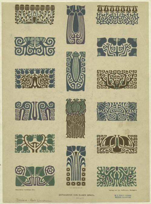ArtNouveau Floral Border Designs  Artist - Eugen Gradl   Engraver - Emil Hochdanz   1889-1928, Stuttgart