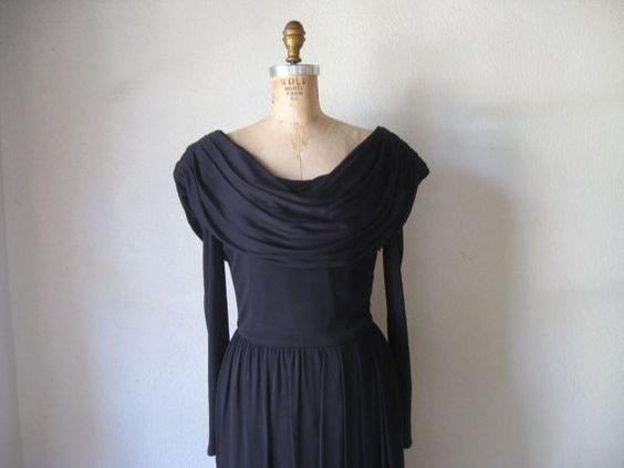 vintage 1980s dress / designer richard warren black rayon slinky heavily draped neckline little black dress