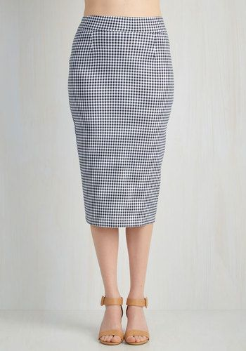 Board of Trusty Skirt - Multi, Blue, White, Checkered / Gingham, Work, Rockabilly, Pinup, 50s, Americana, Pencil, Summer, Woven, Good, High Rise