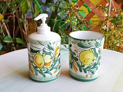 Accessori Bagno In Ceramica Decorata.Bicchiere Portaspazzolini E Dispenser Portasapone In Cera Https Www Amazon It Dp B07hvwzjrq Ref Cm Sw R Pi Dp X Ceramiche Decorative Ceramica Portasapone