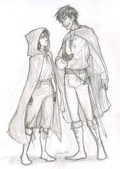 ranger's apprentice characters - Will and Maddie... Will is supposed to be old!... no offense. He does look really attractive in this pic