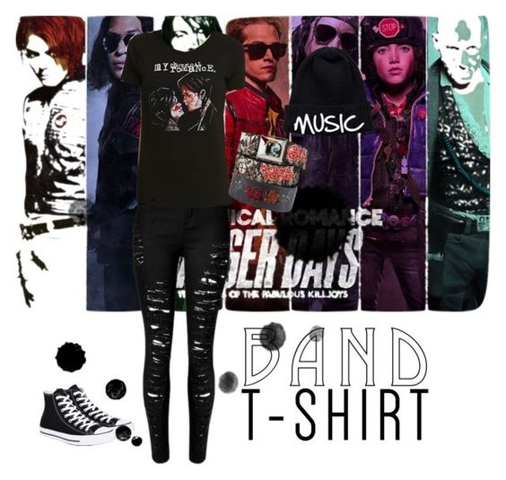 """""""Band T-Shirt"""" by perfectstorm56 on Polyvore featuring Converse, NLY Accessories, bandtshirt and bandtee"""