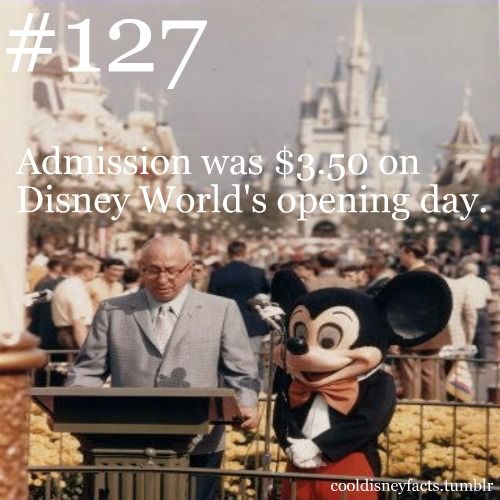 Admission was $3.50 on Disney World's opening day.  This did not include rides.  Rides ranged from 10 cents per ride to 90 cents per ride/per person.