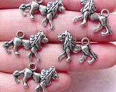 Lion Charm (5pcs / 19mm x 14mm / Tibetan Silver / 2 Sided) Animal Charm Jewellery Wine Charm Bookmark Charm Baby Shower Favor Charm CHM873