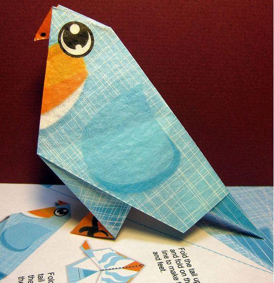 Diy Pájaro azul de Origami
