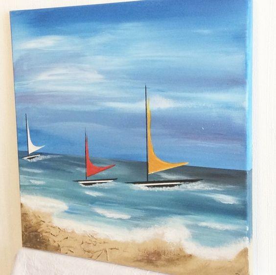Tableau abstrait bateau r gate de voiliers peinture moderne - Peindre sur peinture acrylique ...