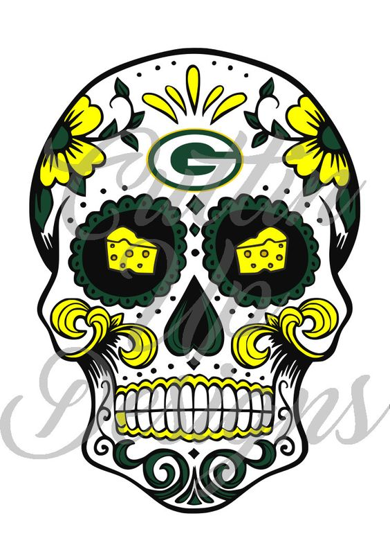 Green Bay Packers Sugar Skull with Cheese Eyes SVG Cutting File for Cricut or Cameo (Designer Edition) Easy to cut. Easy to layer. by CuttinUpGifts on Etsy