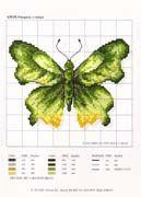 Schematic cross stitch Green Butterfly