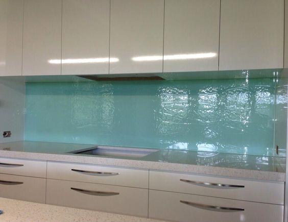 Aqua textured glass kitchen splashback for Textured backsplash