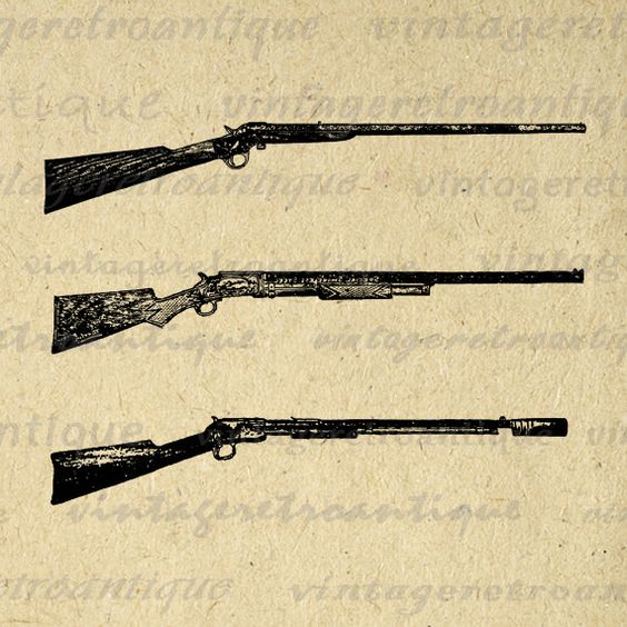 Antique Guns Printable Digital Download Rifle Illustration ...