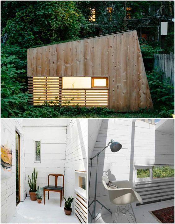 chalet de jardin habitable aménagé avec des chaises de design scandinave vintage et décoré de bardage extérieur et intérieur en bois