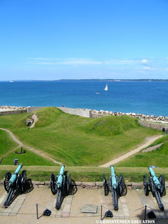 Canons pointed at Sweden on the banks of Kronborg Castle, Denmark.: