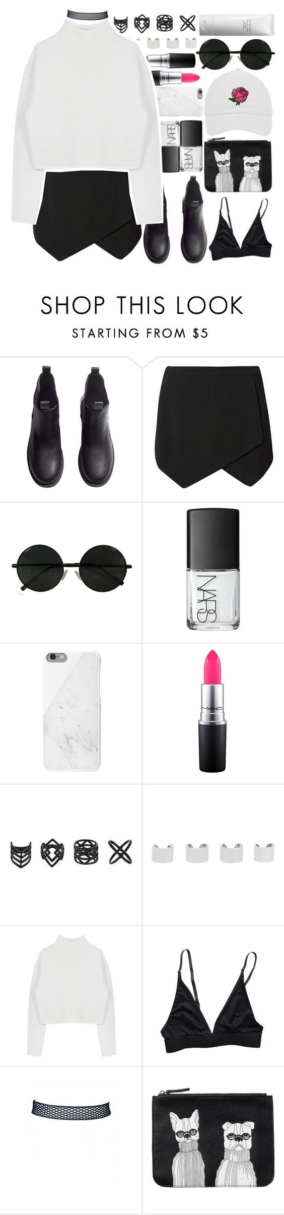 """""""i hate u i love u i hate that i love u"""" by abby-aqua ❤ liked on Polyvore featuring H&M, NARS Cosmetics, Native Union, MAC Cosmetics, Topshop, Maison Margiela, Dion Lee, Monki and Shiseido"""