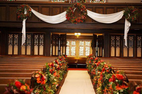 Country Club Christian Church Aisle Arrangements: Church Aisle, Churches Inside, Country Club, Christian Church, Church Decor, Church Ceremony