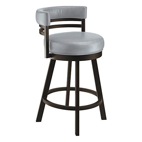 Taylor Gray Home Lincoln Metal Swivel Barstool In Gray Steel Faux
