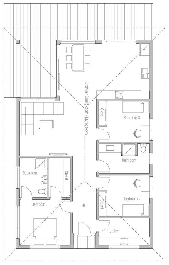 house design house-plan-ch385 10 Plan et aménagement exterieur - plan maison en u ouvert