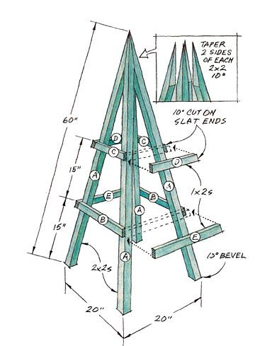 Building a plant obelisk gardens construction drawings for Garden obelisk designs