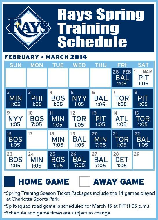 Image result for tampa bay rays spring training schedule
