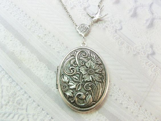 Silver Locket Necklace SILVER FLOWERS Wildflowers by birdzNbeez