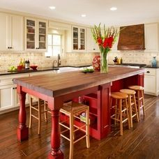 Would love this style island in a lighter butcher block top and maybe in a teal or sea green. Also add some stools from Maine Cottage.
