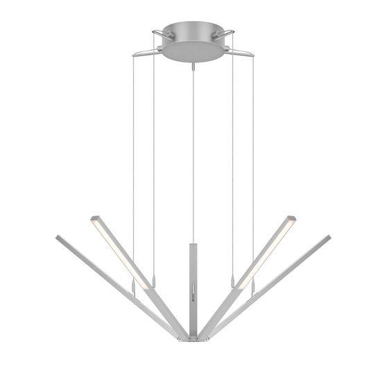 Sonneman 2300 Starflex 5 Light LED Pendant With Frosted Shade Bright Satin Aluminum Indoor Lighting Pendants Multi